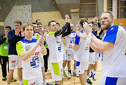Stas Skube, Luka Zvizej and Miha Zvizej during friendly handball match between National Teams of Slovenia and F.Y.R. of Macedonia on December 28, 2013 in Sports hall Polaj, Trbovlje, Slovenia. Photo by Vid Ponikvar / Sportida