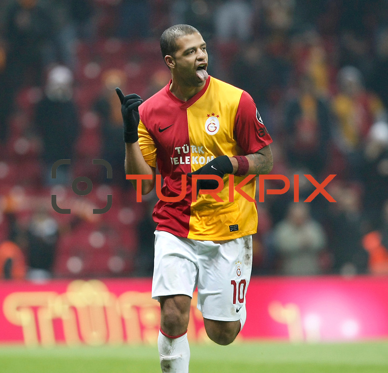 Galatasaray's Felipe Melo celebrate his goal during their Turkish Super League soccer match Galatasaray between Kardemir Karabukspor at the Turk Telekom Arena at Seyrantepe in Istanbul Turkey on Saturday 14 January 2012. Photo by TURKPIX