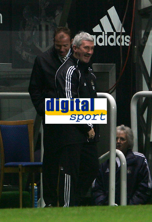 Photo: Andrew Unwin.<br />Newcastle United v Southampton. The FA Cup. 18/02/2006.<br />Newcastle's assistant caretaker-manager, Alan Shearer (L), shares a joke with Terry McDermott (R).