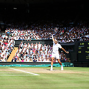 LONDON, ENGLAND - JULY 16: Roger Federer of Switzerland in action against Marin Cilic of Croatia during the Gentlemen's Singles final of the Wimbledon Lawn Tennis Championships at the All England Lawn Tennis and Croquet Club at Wimbledon on July 16, 2017 in London, England. (Photo by Tim Clayton/Corbis via Getty Images)