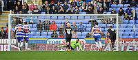 Reading's Nick Blackman scores his sides third goal <br /> <br /> Photographer Kevin Barnes/CameraSport<br /> <br /> Football - The Football League Sky Bet Championship - Reading v Blackpool - Saturday 25th October 2014 - Madejski Stadium - Reading <br /> <br /> © CameraSport - 43 Linden Ave. Countesthorpe. Leicester. England. LE8 5PG - Tel: +44 (0) 116 277 4147 - admin@camerasport.com - www.camerasport.com