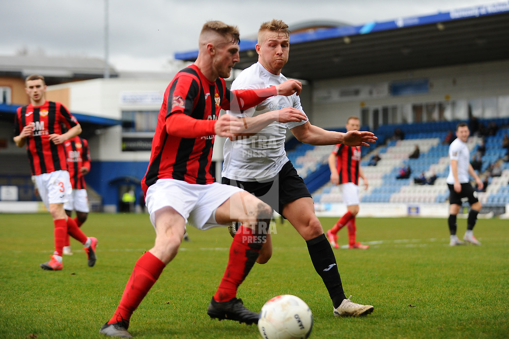 TELFORD COPYRIGHT MIKE SHERIDAN Darryl Knights of Telford closes down  during the Vanarama Conference North fixture between AFC Telford United and Kettering at The New Bucks Head on Saturday, March 14, 2020.<br /> <br /> Picture credit: Mike Sheridan/Ultrapress<br /> <br /> MS201920-050