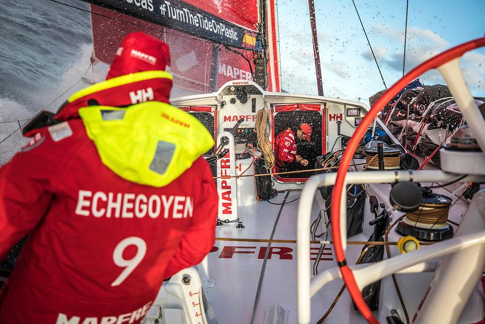 Leg 02, Lisbon to Cape Town, day 19, on board MAPFRE, Pablo Arrarte in the hatch before go on deck. Photo by Ugo Fonolla/Volvo Ocean Race. 23 November, 2017