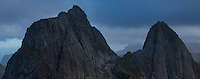 Panoramic view of Kråkhammartind (732m) from the summit of Markan (602m), Moskenesøy, Lofoten Islands, Norway