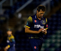 Glamorgan's Michael Hogan in action today  <br /> <br /> Photographer Simon King/Replay Images<br /> <br /> Vitality Blast T20 - Round 14 - Glamorgan v Surrey - Friday 17th August 2018 - Sophia Gardens - Cardiff<br /> <br /> World Copyright © Replay Images . All rights reserved. info@replayimages.co.uk - http://replayimages.co.uk