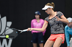 January 10, 2019 - Sydney, NSW, U.S. - SYDNEY, AUSTRALIA - JANUARY 10: Elise Mertens (BEL) hits a forehand at The Sydney International Tennis in the game between Ashleigh Barty (AUS) and Elise Mertens (BEL) on January 10, 2018, at Sydney Olympic Park Tennis Centre in Homebush, Australia. (Photo by Speed Media/Icon Sportswire) (Credit Image: © Steven Markham/Icon SMI via ZUMA Press)
