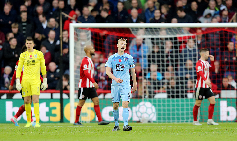 Burnley's Ben Mee reacts after Sheffield United's John Lundstram scored his side's second goal <br /> <br /> Photographer Rich Linley/CameraSport<br /> <br /> The Premier League - Sheffield United v Burnley - Saturday 2nd November 2019 - Bramall Lane - Sheffield<br /> <br /> World Copyright © 2019 CameraSport. All rights reserved. 43 Linden Ave. Countesthorpe. Leicester. England. LE8 5PG - Tel: +44 (0) 116 277 4147 - admin@camerasport.com - www.camerasport.com