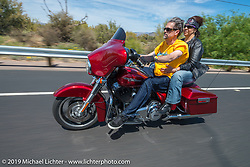 Sandy and Greg Wick on the Hamsters annual Dry Heat Run on Thursday of Arizona Bike Week 2014. USA. April 4, 2014.  Photography ©2014 Michael Lichter.