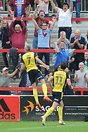 Scunthorpe United Midfielder, Matthew Lund (7) scores 0-1 goal celebration during the EFL Sky Bet League 1 match between Accrington Stanley and Scunthorpe United at the Fraser Eagle Stadium, Accrington, England on 1 September 2018.