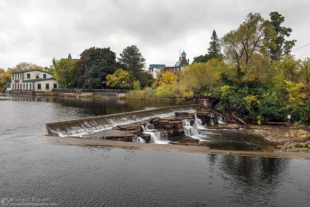 Upper part of Grand Falls along the Mississippi River in Almonte, Ontario, Canada.  Photographed from the Almonte Street Bridge next to the old Almonte Electric Plant (1925) building which is currently home to the Mississippi River Power Corporation.