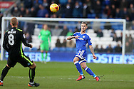 Joe Bennett of Cardiff City (r) in action.EFL Skybet championship match, Cardiff city v Brighton & Hove Albion at the Cardiff city stadium in Cardiff, South Wales on Saturday 3rd December 2016.<br /> pic by Andrew Orchard, Andrew Orchard sports photography.