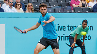 Tennis - 2019 Queen's Club Fever-Tree Championships - Day Six, Saturday<br /> <br /> Men's Singles, Semi Final: Daniil Medvedev (RUS) Vs. Gilles Simon (FRA) <br /> <br /> Gilles Simon (FRA) in action on Centre Court. (Slow Shutter Speed)<br />  <br /> COLORSPORT/DANIEL BEARHAM