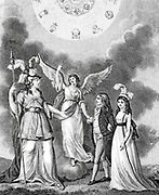 The Genius of Literature Presenting her Pupils to Minerva [Goddess of wisdom; counterpart of Greek Athena] Frontispiece From the Encyclopaedia Londinensis or, Universal dictionary of arts, sciences, and literature; Volume I;  Edited by Wilkes, John. Published in London in 1810