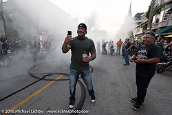 Doing donuts at the Brady Street Experience, where Brady was closed to 4-wheelers and a street party raged until late at night during the Harley-Davidson 115th Anniversary Celebration event. Milwaukee, WI. USA. Friday August 31, 2018. Photography ©2018 Michael Lichter.
