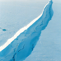 Crack in Larsen A iceshelf  due to temperature rise. Larsen A disappeared in 1999