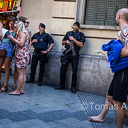 Since the 2015 Paris jihadist attacks, the police (Mossos d'Esquadra) patrol Barcelona's main areas of tourist interest with machine guns and bulletproof vests, contributing to a growing sense of insecurity among the locals.