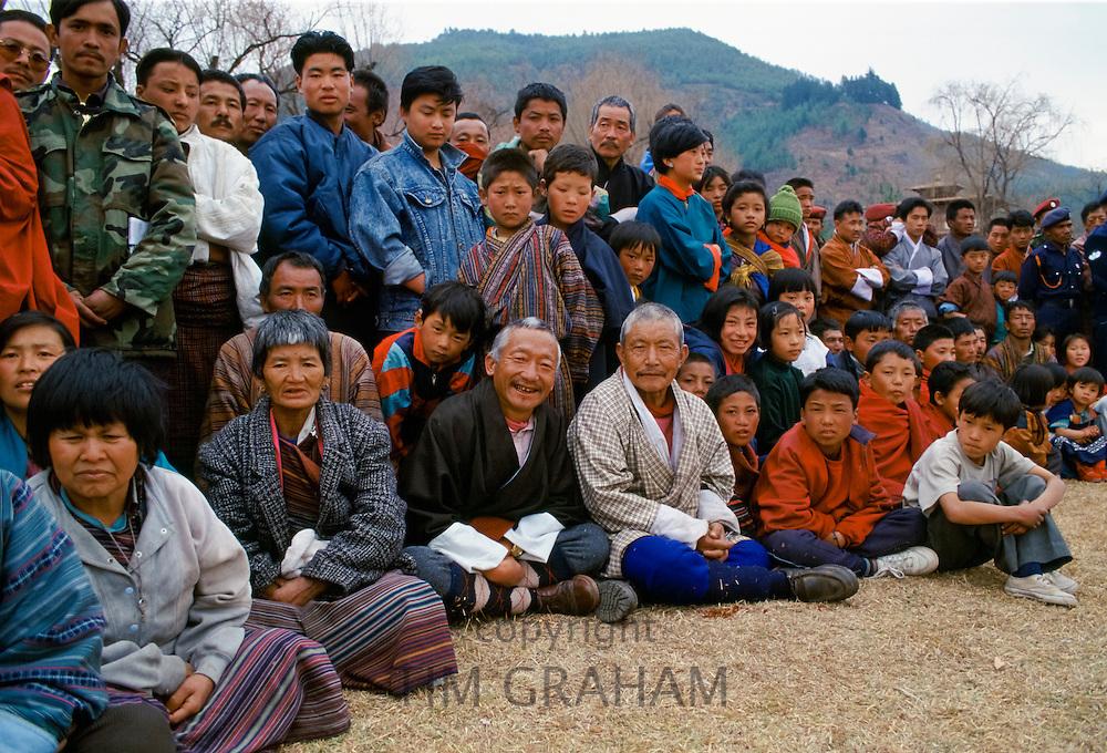Local people at cultural festival in Paro, Bhutan