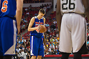 Kristaps Porzingis #46 of the New York Knicks shoots a free-throw against the San Antonio Spurs during an NBA Summer League game in Las Vegas, Nevada on July 11, 2015. (Cooper Neill for The New York Times)