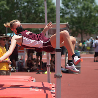 Rehoboth Lynx Eden Sun competes in the high jump at the NMAA 2A track and field state finals in Albuquerque Friday.