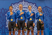 Team Italy win gold during the womens cycle team pursuit at the Minsk arena during the Minsk 2019 European Games on the 28th June 2019 in Minsk, Belarus. Featuring <br /> Elisa Balsamo, Alzini Martina, Marta Cavalli and Letizia Paternoster.