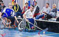 BREDA - Paragames 2011 Breda. Heval Kisin zaterdag tijdens  de interland Nederland-Duitsland  bij het 4-landentoernooi Wheelchair Floorball Hockey, het  Nederlands handvoortbewogen rolstoelhockeyteam.  ANP COPYRIGHT KOEN SUYK