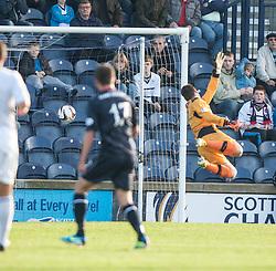 Falkirk's Kris Faulds (17) scoring their goal past Raith Rovers keeper David McGurn.<br /> Raith Rovers 1 v 1 Falkirk, Scottish Championship 28/9/2013.<br /> ©Michael Schofield.