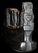 Statue of the 'Sacred boat of Queen Mutemwia', 18th Dynasty Egyptian (approx. 1400 BC). Made from black granite. Found recovered from the Temple of Karnak.