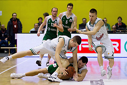 Dino Muric of Olimpija vs Jure Balazic of Krka during basketball match between KK Union Olimpija Ljubljana and KK Krka Novo mesto in Final match of 11th Slovenian Spar Cup 2012, on February 19, 2012 in Sports hall Brezice,  Brezice, Slovenia. Union Olimpija defeated Krka 68-63 and became Slovenian Cup Champion 2012. (Photo By Vid Ponikvar / Sportida.com)