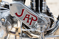 Max Hazan's 1938 JAP 500 custom in the RSD Moto Beach Classic custom bike show. Huntington Beach, CA, USA. Saturday October 27, 2018. Photography ©2018 Michael Lichter.