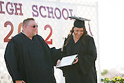 Cal Hills Class of 2012 Lisa Michelle Sisneroz accepts the Flemming Madsen Award graduation on June 15, 2012.  The Flemming Madsen Award recognizes the student who made the most positive life changes while at Cal Hills High School.  Photo by Stan Olszewski/SOSKIphoto.