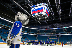Players of Slovenia during national anthem after ice hockey match between Slovenia and Lithuania at IIHF World Championship DIV. I Group A Kazakhstan 2019, on May 5, 2019 in Barys Arena, Nur-Sultan, Kazakhstan. Photo by Matic Klansek Velej / Sportida