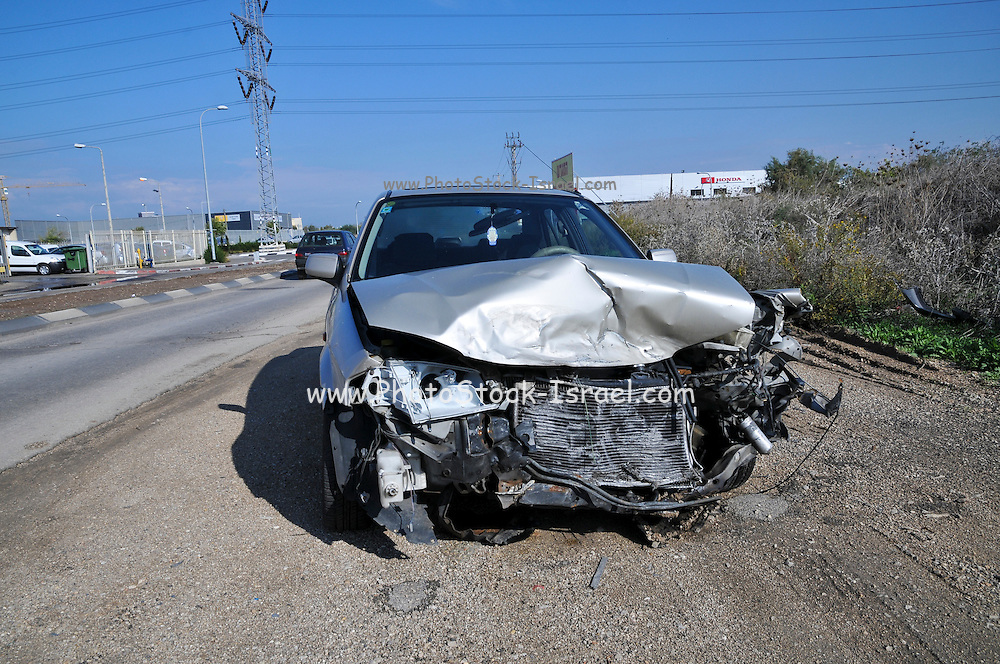 Damaged car after a road accident