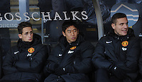 Manchester United's Shinji Kagawa on the bench alongside Adnan Januzaj (left) and Nemanja Vidic during the Barclays Premier League match at the KC Stadium, Hull. PRESS ASSOCIATION Photo. Picture date: Thursday December 26, 2013. See PA Story SOCCER Hull. Photo credit should read: Anna Gowthorpe/PA Wire. Editorial use only. Maximum 45 images during a match. No video emulation or promotion as 'live'. No use in games, competitions, merchandise, betting or single club/player services. No use with unofficial audio, video, data, fixtures or club/league logos.