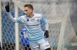 Lucas Haren (FC Helsingør) jubler efter reducering under træningskampen mellem FC Helsingør og Fremad Amager den 18. januar 2020 på Helsingør Ny Stadion (Foto: Claus Birch)