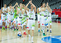 Jaka Blazic of Slovenia, Klemen Prepelic of Slovenia, Miha Zupan of Slovenia celebrate after winning during basketball match between Slovenia vs Netherlands at Day 4 in Group C of FIBA Europe Eurobasket 2015, on September 8, 2015, in Arena Zagreb, Croatia. Photo by Vid Ponikvar / Sportida