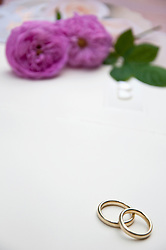 Wedding rings with roses in background, close up
