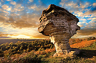Bridestone rock formation in Dalby forest. Formed by softer sndstone being eroded faster that the limestone that is above it. North Yorks Moors National Park