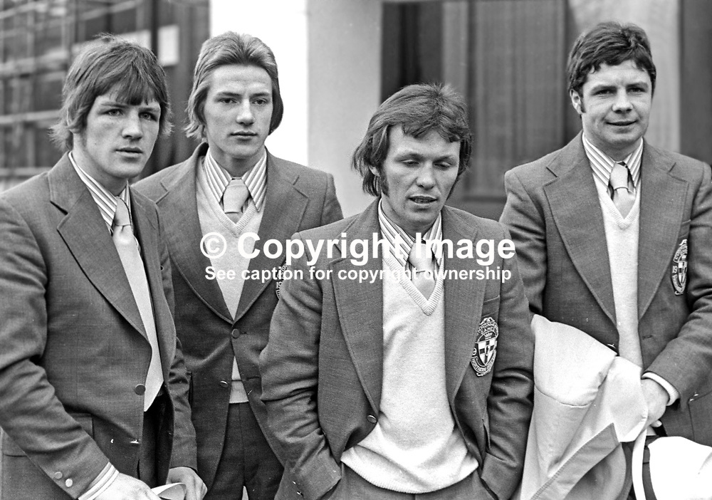 N Ireland boxing team members for 1974 Commonwealth Games:- (left to right) Ray Heaney, Gerry Hamill, Davy Larmour and Davy Campbell. 197401090016c.<br /> <br /> Copyright Image from Victor Patterson, Belfast, UK<br /> <br /> t: +44 28 9066 1296 (from Rep of Ireland 048 9066 1296)<br /> m: +44 7802 353836<br /> e: victorpattersonbelfast@gmail.com<br /> <br /> www.images4media.com<br /> <br /> Please see my full Terms and Conditions of Use at https://www.images4media.com/p/terms-conditions - it is IMPORTANT that you familiarise yourself with them.<br /> <br /> Images used online incur an additional cost. This cost should be agreed in writing in advance. Online images must be visibly watermarked i.e. © Victor Patterson or that of the named photographer within the body of the image. The original metadata must not be deleted from images used online.<br /> <br /> This image is only available for the use of the download recipient i.e. television station, newspaper, magazine, book publisher, etc, and must not be passed on to a third party. It is also downloaded on condition that each and every usage is notified within 7 days to victorpattersonbelfast@gmail.com.<br /> <br /> The right of Victor Patterson (or the named photographer) to be identified as the author is asserted in accordance with The Copyright Designs And Patents Act (1988). All moral rights are asserted.