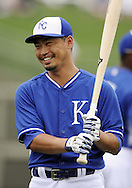 SURPRISE, AZ - MARCH 06:  Norichika Aoki #23 of the Kansas City Royals smiles prior to the game against the Chicago White Sox on March 6, 2014 at The Ballpark in Surprise in Surprise, Arizona. (Photo by Ron Vesely)   Subject: Norichika Aoki