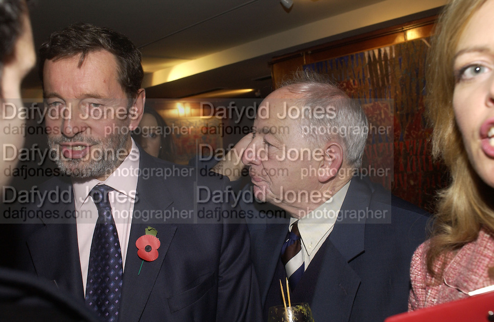 David Blunkett and Colin Dexter. 70th anniversary of the RNIB Talking `book service. Arts Club. Dover St. London.  8 November 2005 . ONE TIME USE ONLY - DO NOT ARCHIVE © Copyright Photograph by Dafydd Jones 66 Stockwell Park Rd. London SW9 0DA Tel 020 7733 0108 www.dafjones.com