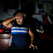 Abraham Quesada looks on at the La Habra Boxing Club on November 6, 2015, in La Habra, California.<br /> <br /> Photo by Yong Teck Lim/Sports Shooter Academy