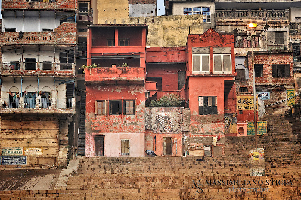 Detail of some building seen from river Ganges in Varanasi.