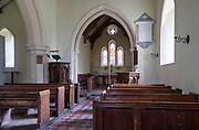 Interior of village parish church of Saint Nicholas, Fyfield, Wiltshire, England, UK
