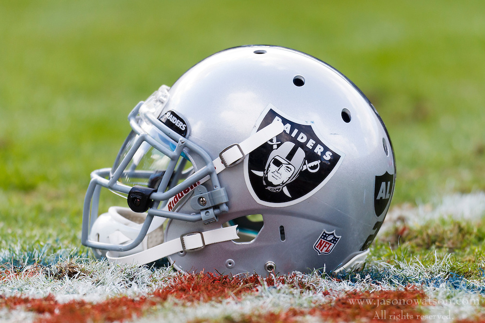 Nov 6, 2011; Oakland, CA, USA; Detailed view of an Oakland Raiders helmet on the field before the game against the Denver Broncos at O.co Coliseum. Denver defeated Oakland 38-24. Mandatory Credit: Jason O. Watson-US PRESSWIRE