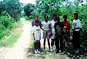 Group of young teenagers on the Bluff, Cayman Brac, Cayman Islands, West Indies c 1990