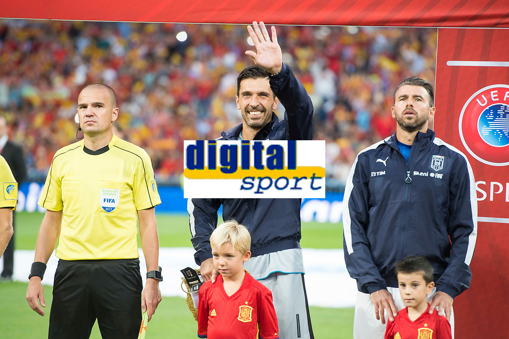 Italy's Gianluigi Buffon and Andrea Barzagli during match between Spain and Italy to clasification to World Cup 2018 at Santiago Bernabeu Stadium in Madrid, Spain September 02, 2017. (ALTERPHOTOS/Borja B.Hojas)