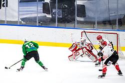 Nik Simsic of HK SZ Olimpija vs Zan Us of HDD SIJ Acroni Jesenice during ice hockey match between HK SZ Olimpija and HDD SIJ Acroni Jesenice in fifth game of Final at Slovenian National League, on May 10, 2021 in Hala Tivoli, Ljubljana, Slovenia. Photo by Matic Klansek Velej / Sportida