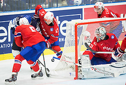 Antti Pihlstrom of Finland vs Jonas Holos of Norway, Alexander Bonsaksen of Norway and Lars Volden of Norway during Ice Hockey match between Norway and Finland at Day 4 in Group B of 2015 IIHF World Championship, on May 4, 2015 in CEZ Arena, Ostrava, Czech Republic. Photo by Vid Ponikvar / Sportida