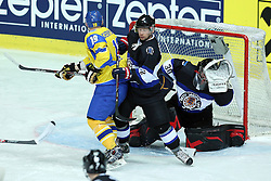 20.04.2016, Dom Sportova, Zagreb, CRO, IIHF WM, Ukraine vs Estland, Division I, Gruppe B, im Bild Dmytro Chernyshenko, Maksim Robushkin, Daniil Seppenen // during the 2016 IIHF Ice Hockey World Championship, Division I, Group B, match between Ukraine and Estonia at the Dom Sportova in Zagreb, Croatia on 2016/04/20. EXPA Pictures © 2016, PhotoCredit: EXPA/ Pixsell/ Goran Stanzl<br /> <br /> *****ATTENTION - for AUT, SLO, SUI, SWE, ITA, FRA only*****