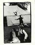Sliding down the marquee, New College Ball, 1983